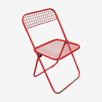 Chaise pliante en métal par les éditions Talin, années 70
