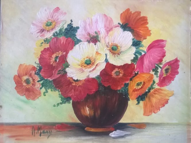 Peinture bouquet champètre