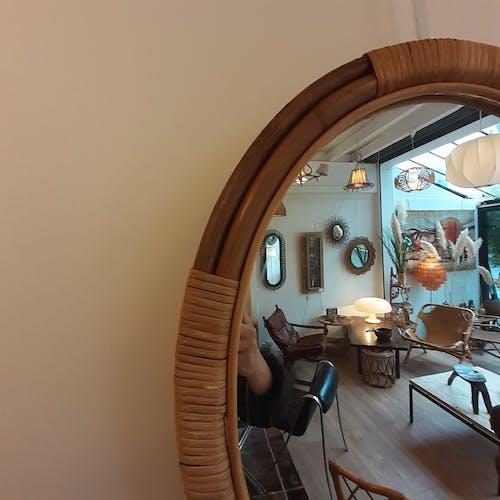 Miroir ovale en rotin - 56x48cm