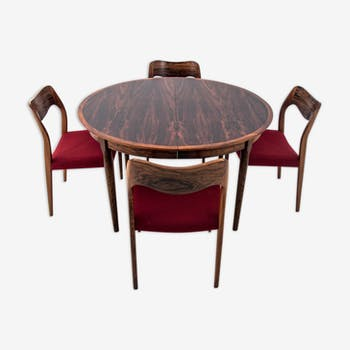 Danish Design Rosewood Round Dining Room Table Extendable Selency