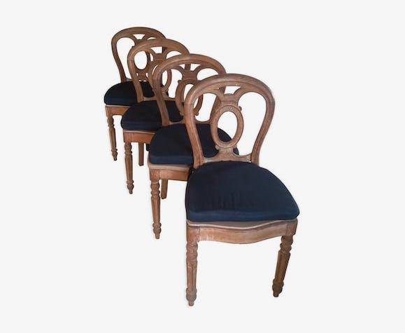 Ensemble de 4 chaises en chene style shabby