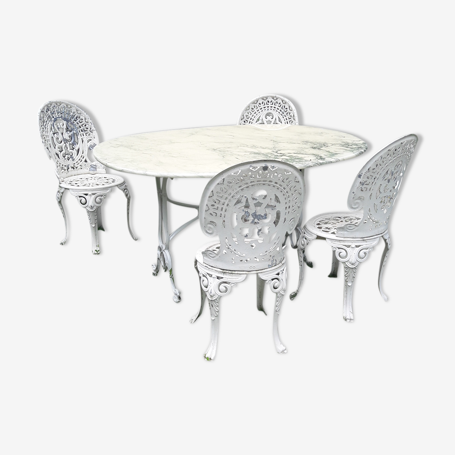 Cast iron and marble garden furniture set