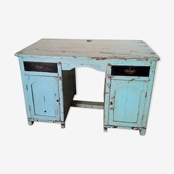 Bureau en tek birman 2 portes et 2 tiroirs