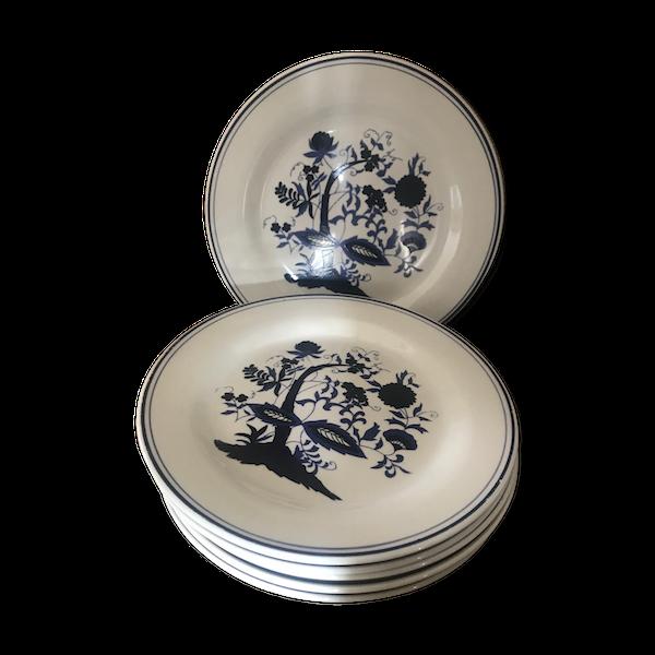 6 assiettes plates à dessert porcelaine anglaise bleu