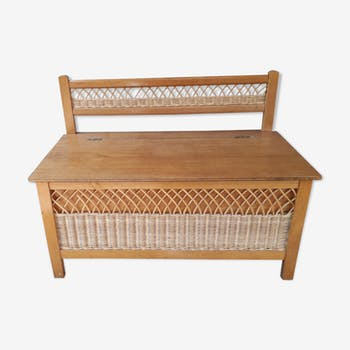 Vintage wood and rattan chest