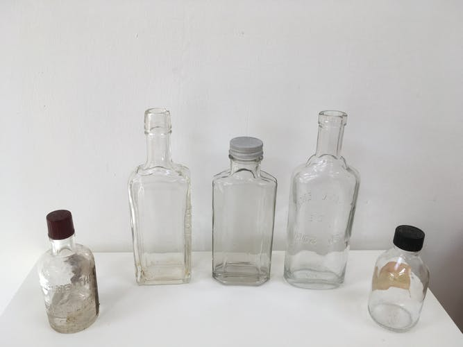 Lot 5 old apothecary vials