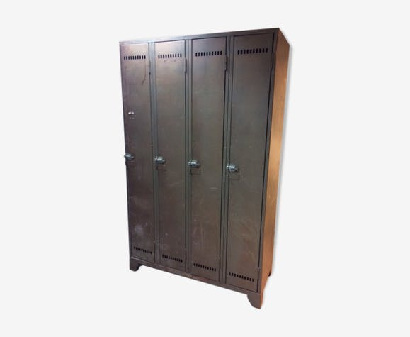 vestiaire armoire casier style industriel m tal gris. Black Bedroom Furniture Sets. Home Design Ideas