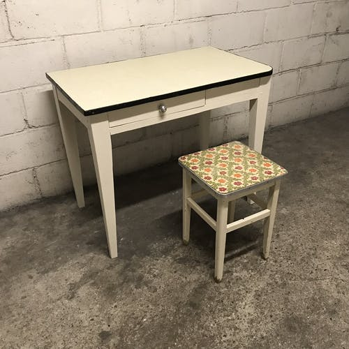Vintage wooden table and yellow Formica