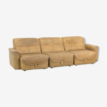 Canapé modulaire 3 places en cuir de buffle