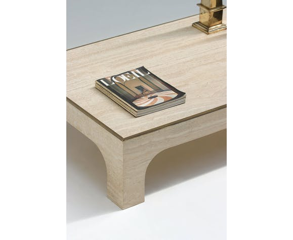 Table basse travertine par Willy Rizzo 1970