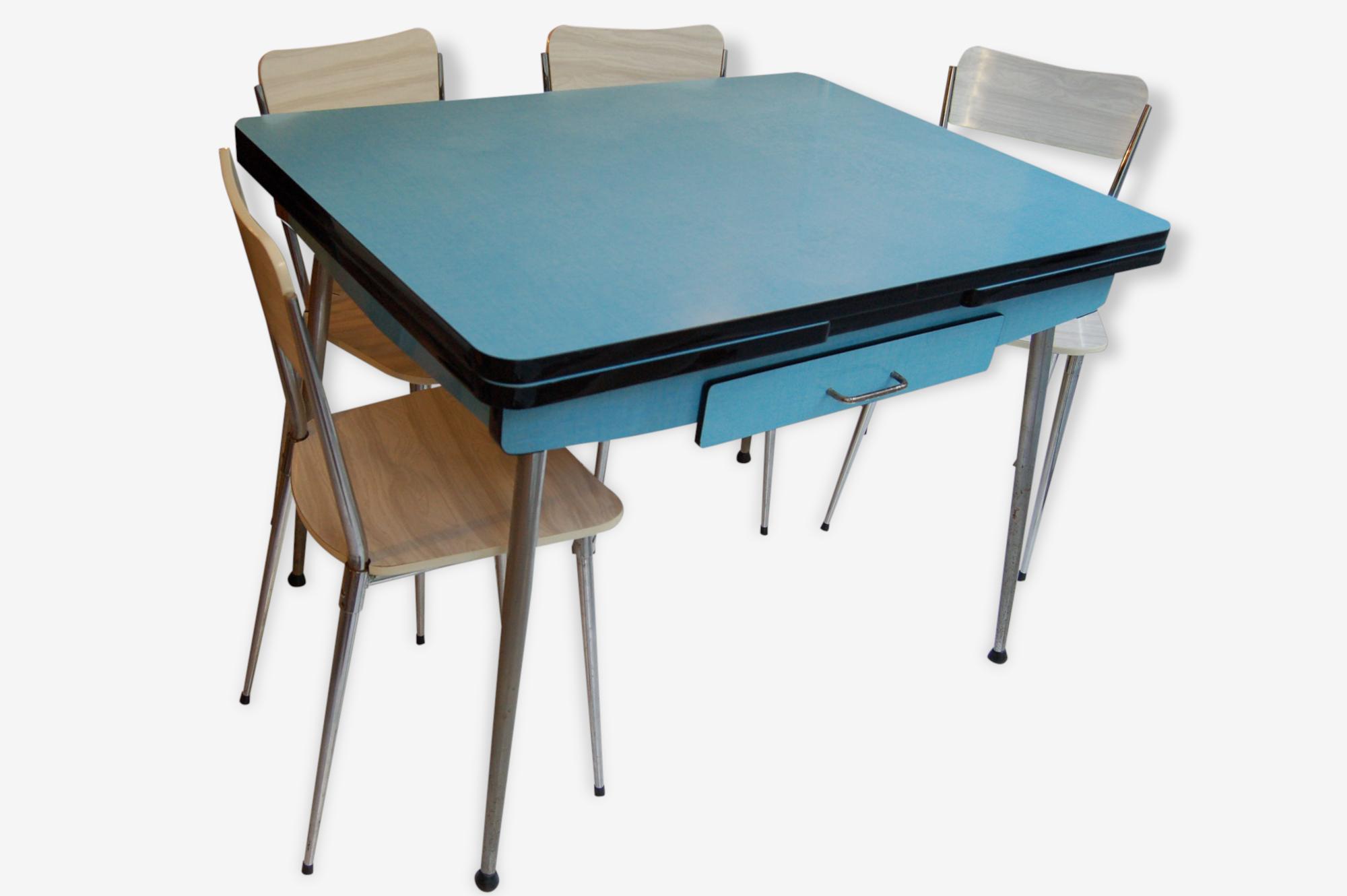 Table En Formica Bleu Vintage Annees 50 Et 4 Chaises Formica