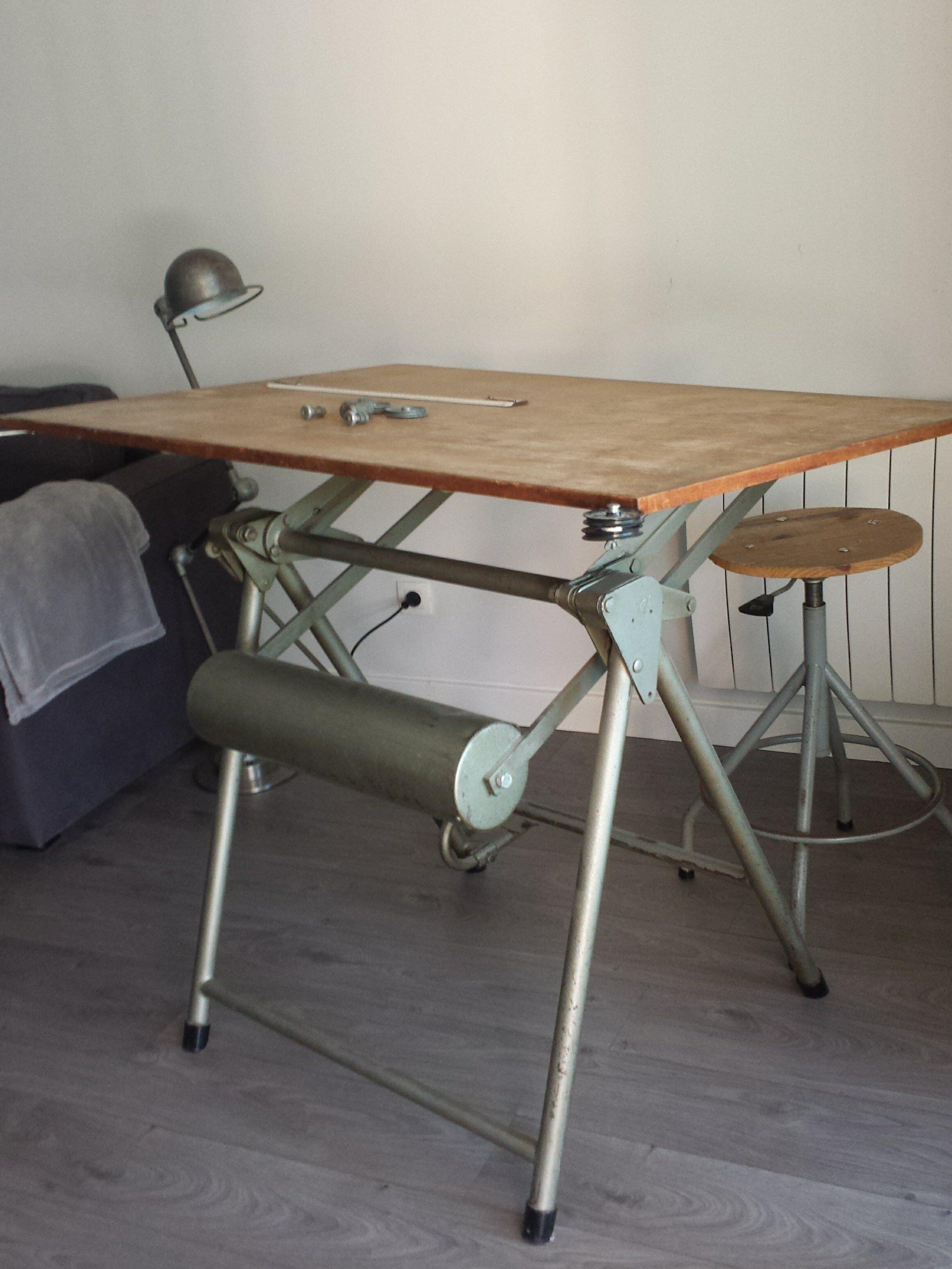 """Table A Dessin Industriel table à dessin industriel """"heliolithe lyon paris"""" - métal - gris"""