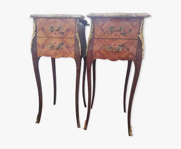Paire de tables de chevet Louis XV bois de rose marqueterie ...