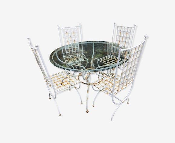 Salon de jardin 4 chaises + 1 table - fer - gris - vintage - N2smAvh