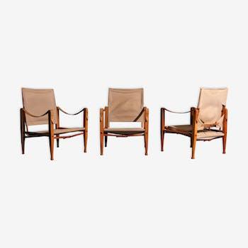 Kaare Klint Safari armchairs produced by Rud Rasmussen