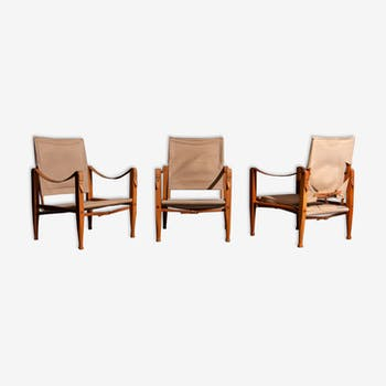 Kaare Klint Safari armchairs produced by Rud Rasmussen