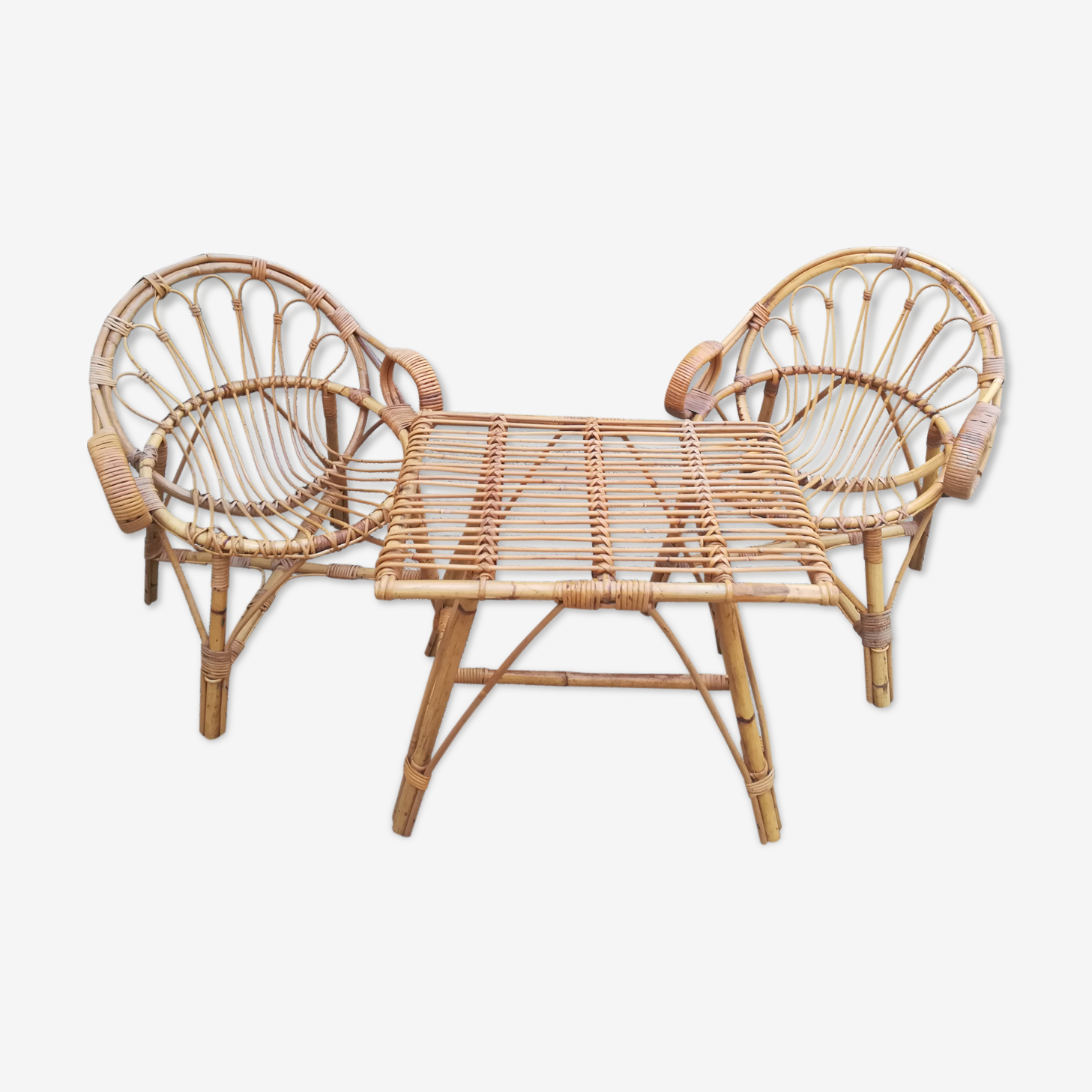 Ensemble de terrasse en bambou et rotin, trois pièces