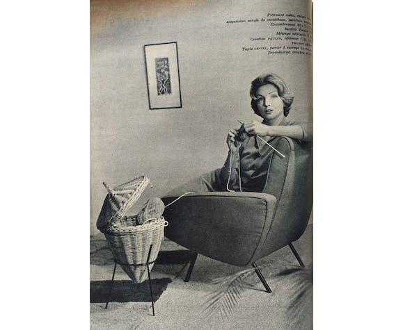 Panière en rotin vintage années 50