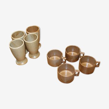 Lot of 8 cups and mazagrans sandstone Village Brenne