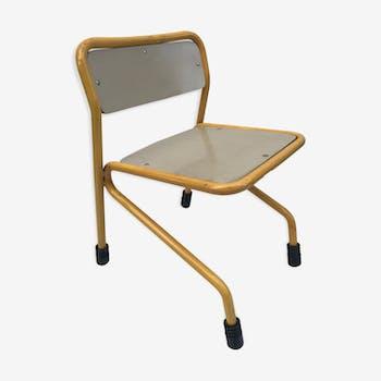 Chaise ancienne d'écolier en bois & métal jaune vintage des années 80