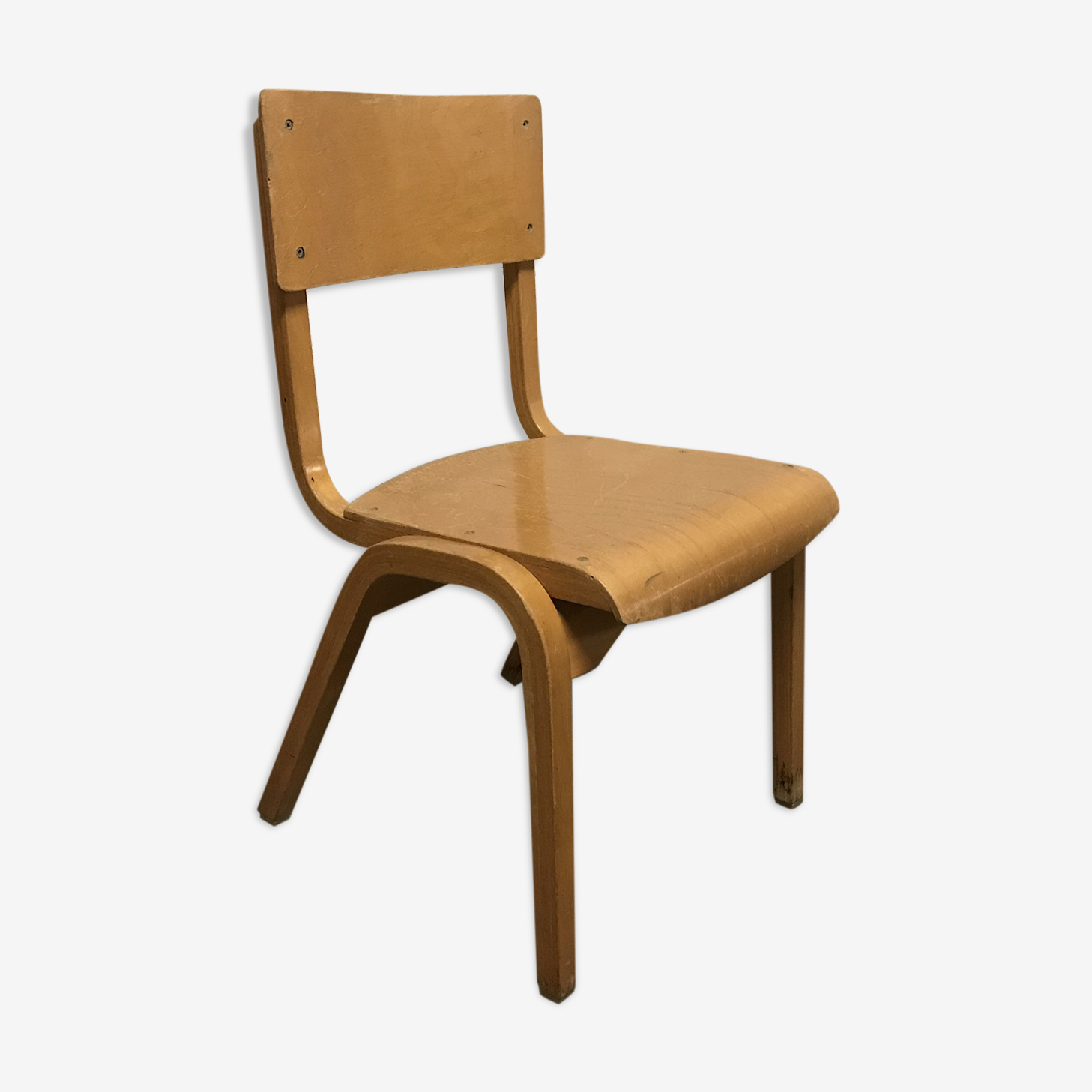 Child chair baumann from the 1960s curved wooden