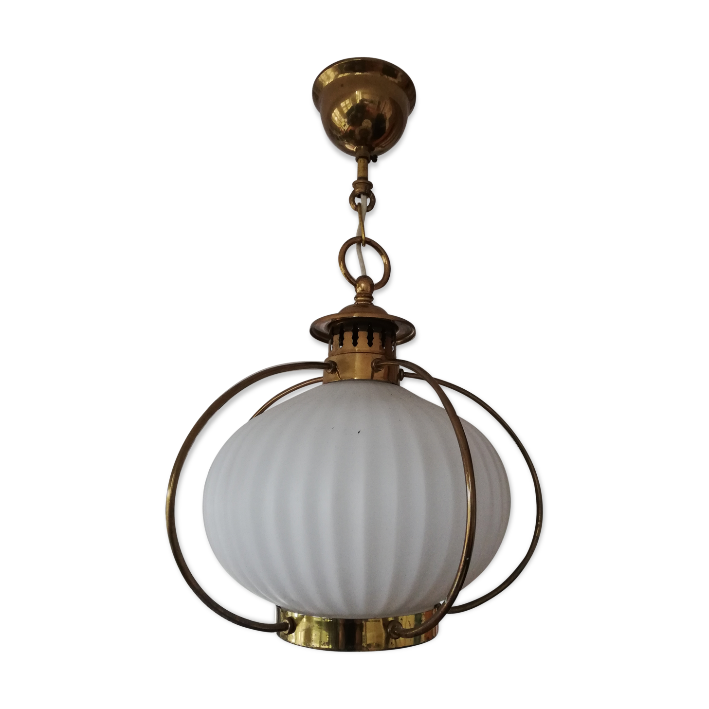 20th Century Antique Globe Opaline White For Suspension Chandelier Lamps