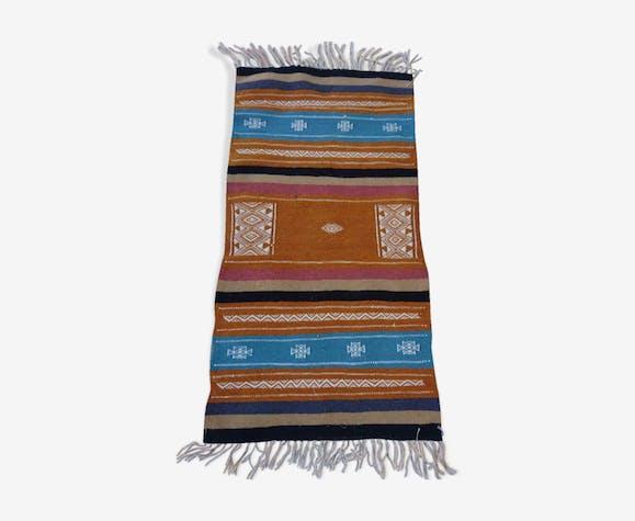 Tapis kilim orange bleu blanc fait à la main, 120x65cm