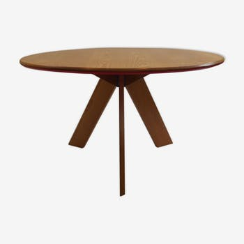 Midcentury bespoke round dining table by David Field 1980s ash