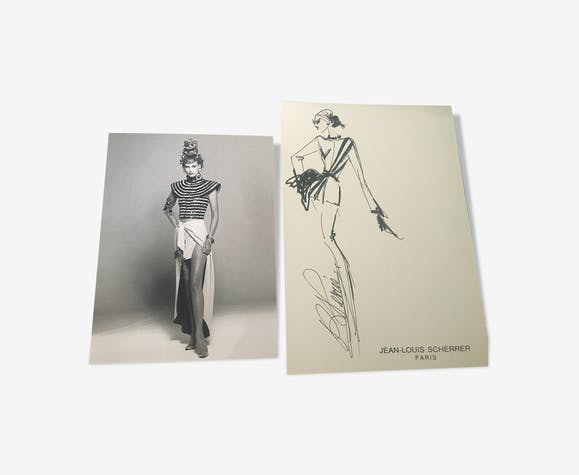 Jean-louis scherrer: illustration de mode et photo de presse début des années 90