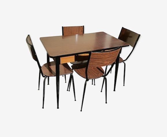 Ensemble table et 4 chaises en formica années 50/60 ...