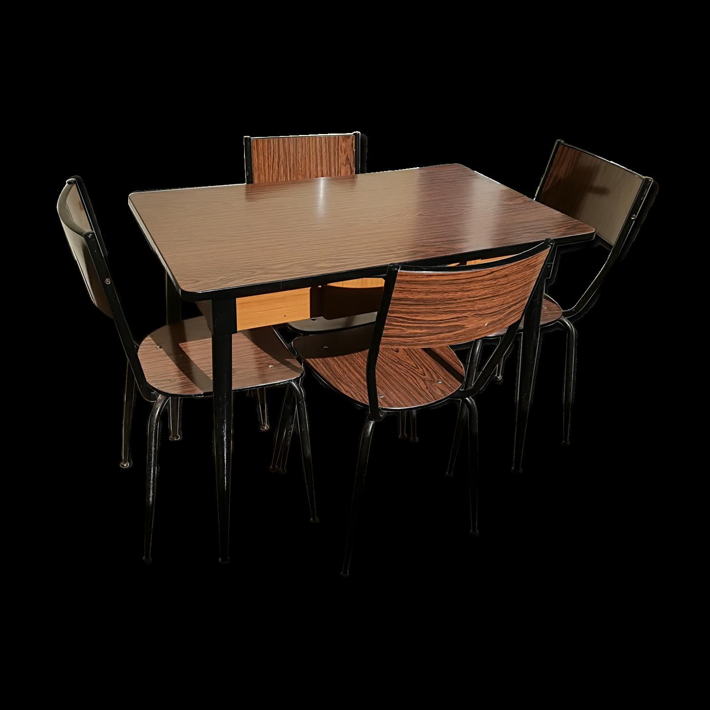 Ensemble Table Et 4 Chaises En Formica Années 50/60