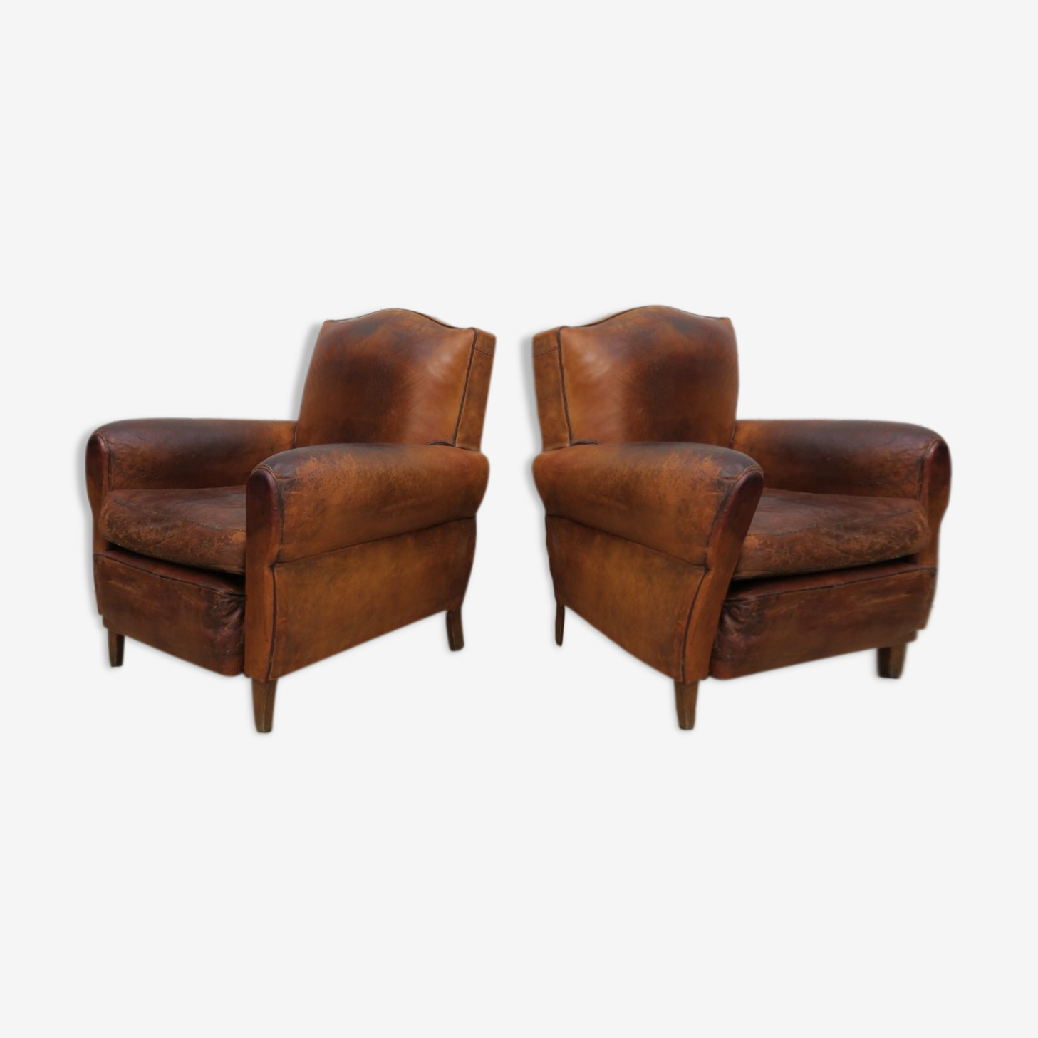 Pair of French leather club armchairs 1930