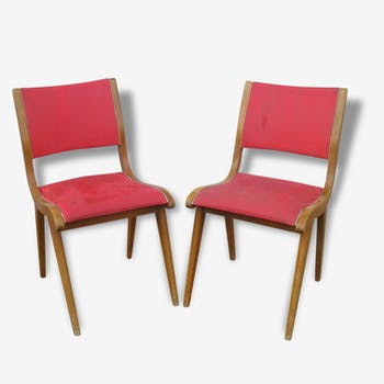Pair of Scandinavian style red wood and leatherette chairs, 50s/60s