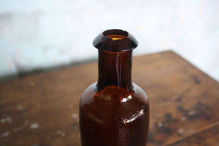 Vintage amber glass bottle