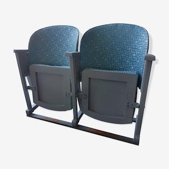 Paire de fauteuils de théâtre