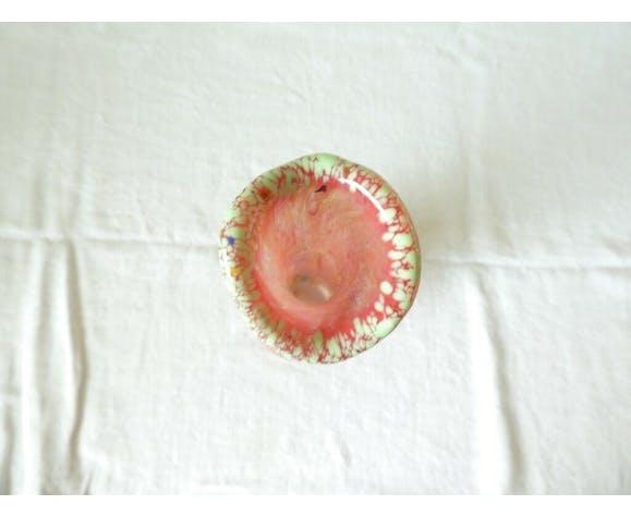 Vase soliflore en pate de verre a decor moucheté