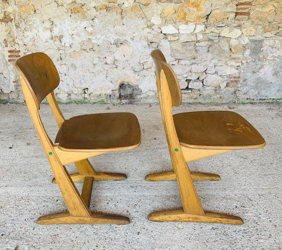 Paire de chaises d'école vintage pour enfant par Casala,modèles grandes tailles
