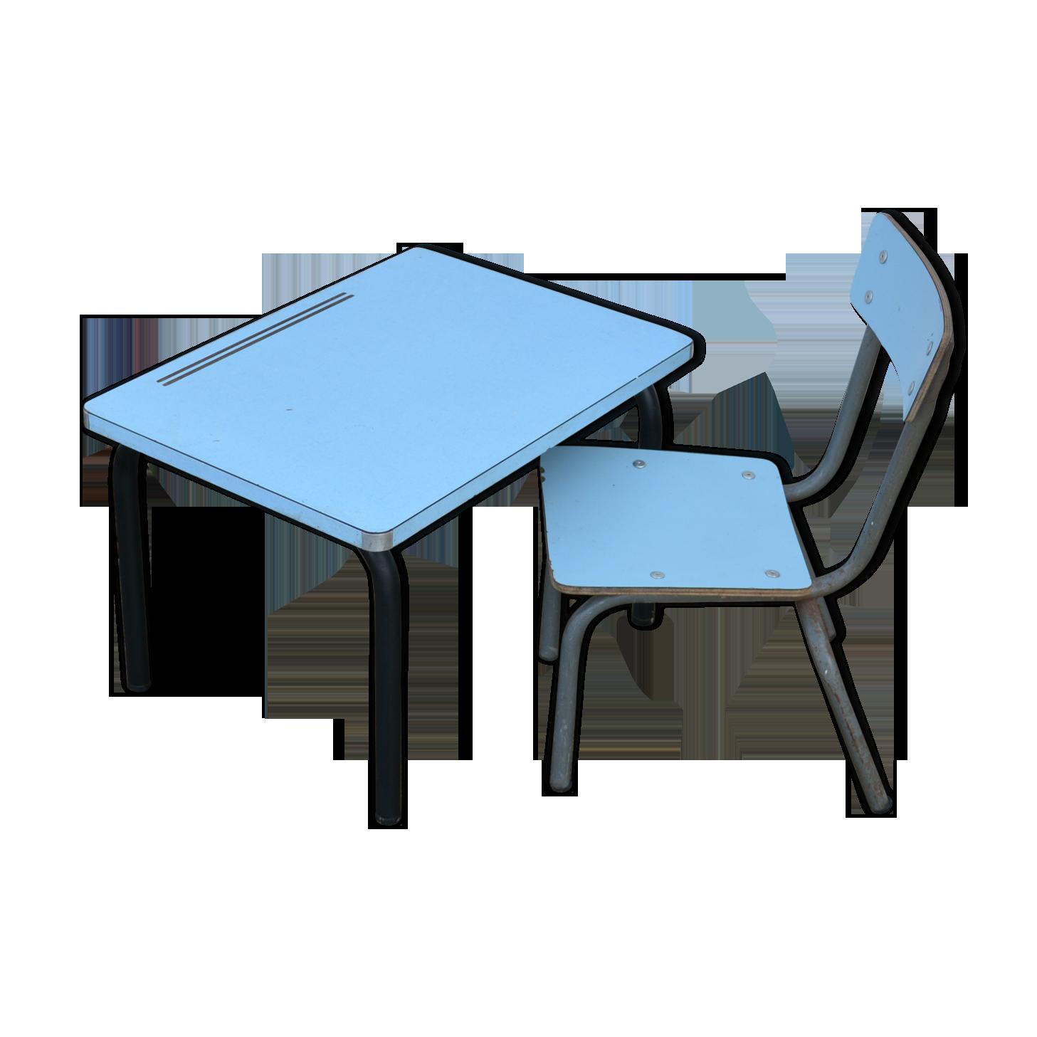 Bureau et chaise pour tout petit formica bleu vintage lltzxin