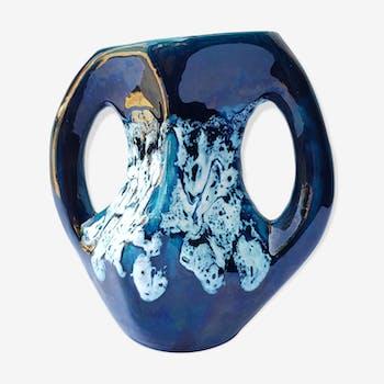 Vase ansé nuances de bleu 60's