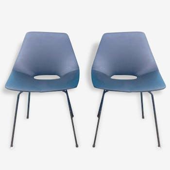 """Paire de chaises """"Tonneau"""", Pierre Guariche - années 50"""