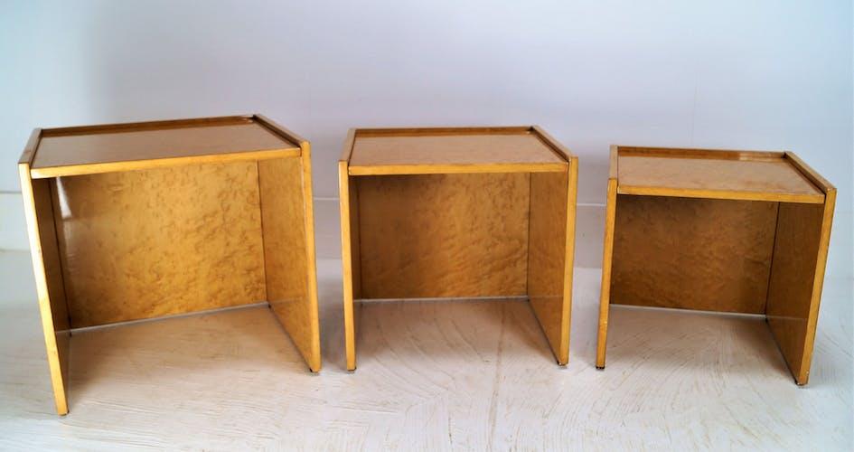Karelic Birched 1970s gigognes tables