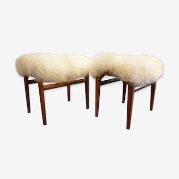 Pair of stools Italians Tibet lamb fur