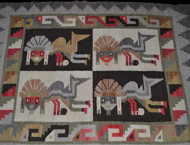 Tapis péruvien en laine, 113 cm x 154 cm, nouée main vers 1970, bon état