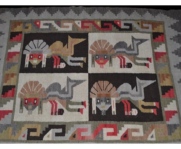 Tapis artisanal péruvien en laine, 113x154cm