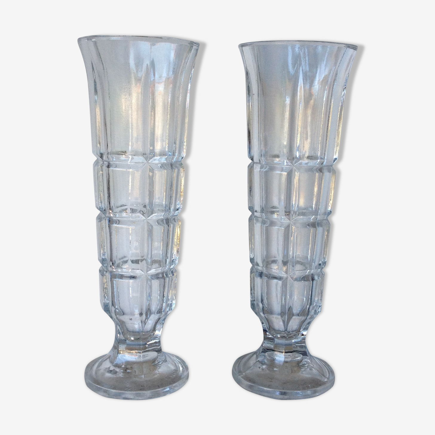 Duo of italian glass vases