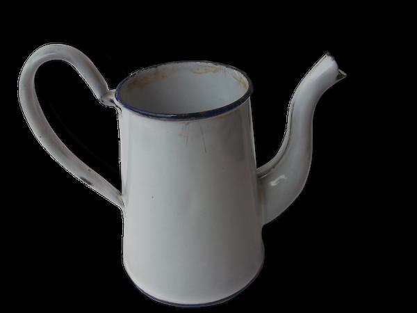 Cafetière émaillée blanche
