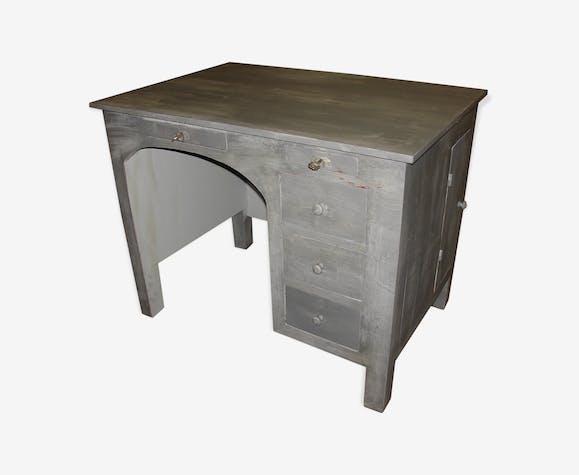Bureau peint en gris patiné et vernis mat vers 1940 bois matériau
