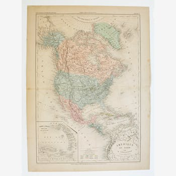 Old map of America from the North of 1862
