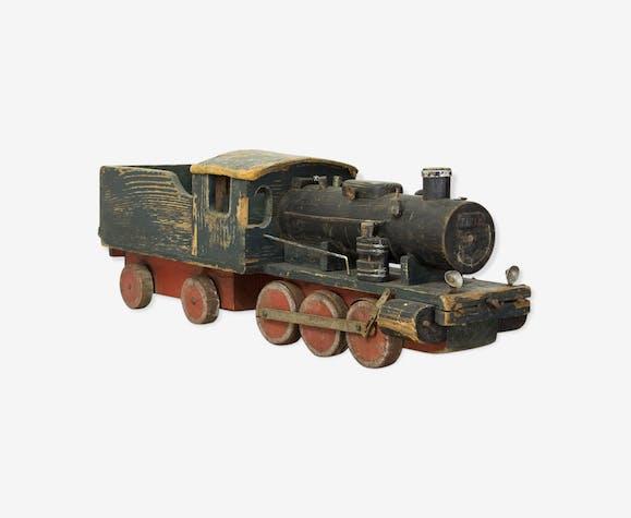 Train jouet en bois vintage