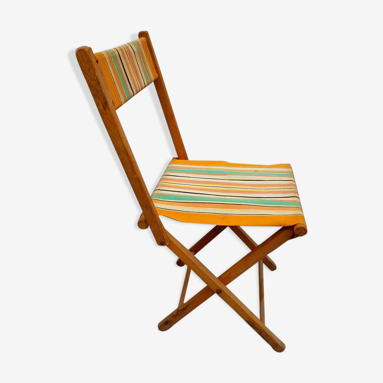 Ancienne chaise pliante de pêcheur en bois et toile bayadère